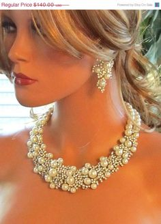 bridal statement Bridal bib necklace  pearl by BijouxandCouture, $98.00