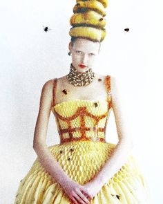 #magazining #magazines #inspiration #beesknees #bees #beecouture #honeycomb #flocked #flocking #texture #yellow #honey #costume
