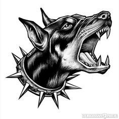 Ideas For Dogs Tattoo Old School Dog Tattoos, Animal Tattoos, Sleeve Tattoos, Tattoo Sketches, Tattoo Drawings, Art Sketches, Dobermann Tattoo, Logo Animal, Bauch Tattoos