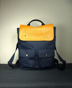 City Backpack in Navy Canvas and Tan Leather/ Backpack/ Laptop Bag/ Man Backpack/ Navy Canvas Backpack