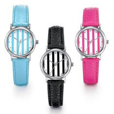 """Silvertone ladies leatherlike strap watch with matching adorable stripe pattern round faced dial.· Band: 9"""" L x 9/16"""" W with Buckle closure· Actual face: 7/8""""· Face with bezel: 1""""· Battery: Replaceable SR626SW· Movement: Quartz-PC21J· Imported"""