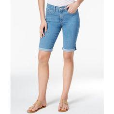Nydj Briella Denim Cuffed Dark Enzyme Wash Bermuda Shorts ($69) ❤ liked on Polyvore featuring shorts, milwaukee, slim fit shorts, cuffed shorts, slim denim shorts, nydj shorts and cuff shorts