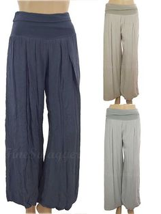 Lagenlook Long High Waist Harem Palazzo Balloon Flared Beach Trousers Pants | eBay