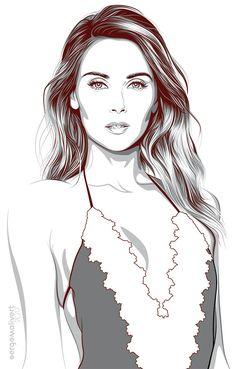 Marisa by sergemalivert on DeviantArt People Illustration, Portrait Illustration, Digital Illustration, Portrait Vector, Digital Portrait, Comic Style Art, Scratch Art, Digital Art Girl, Fashion Design Sketches
