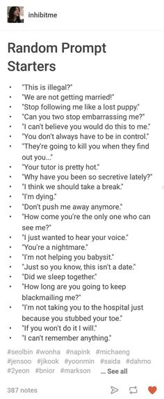 I dare someone to write 2 chapters using all of these.
