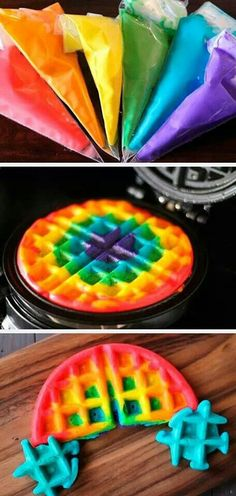 Rainbow waffle. Make ahead and freeze for morning after slumber party.