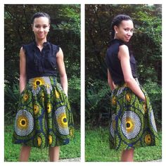 Pleated skirt in African print by MelangeMode on Etsy