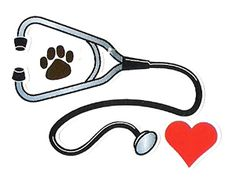 I like the stethoscope with the paw print and the heart. The heart offsets the medical instrument's intimidating appeal by symbolizing health and love.