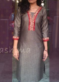 Jute Finished Silk Cotton With Price All sizes… Salwar Neck Designs, Kurta Neck Design, Neck Designs For Suits, Neckline Designs, Dress Neck Designs, Kurta Designs, Blouse Designs, Salwar Pattern, Kurta Patterns