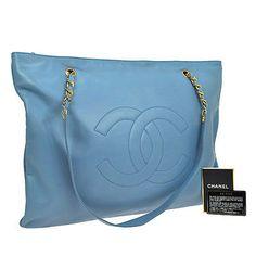 Auth-CHANEL-Jumbo-XL-CC-Logos-Chain-Shoulder-Bag-Blue-Leather-Vintage-R08038