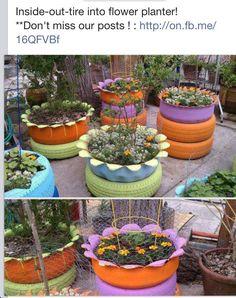 re-purposed tire planters...