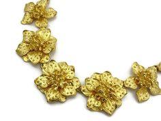 Kenneth Jay Lane Jewelry - Gold Flower KJL Necklace, Designer Jewelry, Costume Jewelry