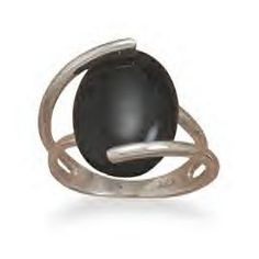 Silver Wrapped Black Onyx Ring