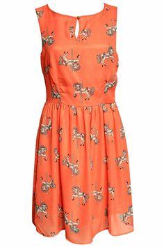 ROMWE | Orange Merry-go-round Print Dress, The Latest Street Fashion #ROMWE