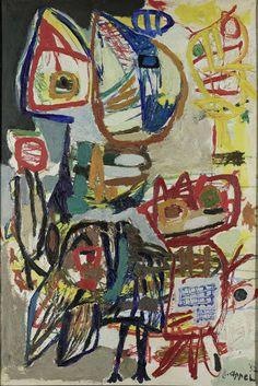 Karel Appel (1921-2006) was een Nederlands schilder en beeldhouwer in de moderne kunst uit de tweede helft van de twintigste eeuw. Hij brak door met zijn lidmaatschap van de Cobra-groep. Hij liet zich in deze periode vooral beïnvloeden door de kunst van Picasso, Matisse en Jean Dubuffet.  -De ontmoeting