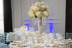 Hydrangea, Baby's Breath and Rose Centerpiece