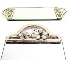 Amazon.com: Bejeweled White Dragonfly Flowers Vanity Tray Mirror: Home & Kitchen