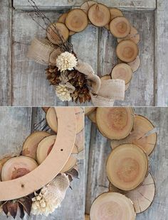 Turkey wreath tinker from wooden discs - DIY Herbst - Diy Crafts To Do, Fall Crafts, Christmas Crafts, Christmas Decorations, Autumn Decorations, Wooden Crafts, Wooden Diy, Diy Wreath, Door Wreaths