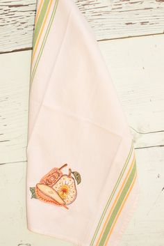 Retro, mid-century pears embroidered on green/yellow striped tea towel, great for your Kitchen Decor! by NestingInstinctShop on Etsy
