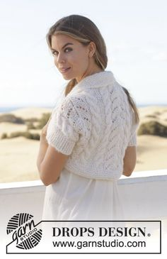 Ever So Sweet / DROPS 153-31 - Knitted DROPS bolero with cables and lace pattern in Brushed Alpaca Silk and Alpaca. Size S-XXXL
