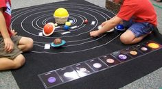 Montessori Science/Astronomy: make your own solar system mat.
