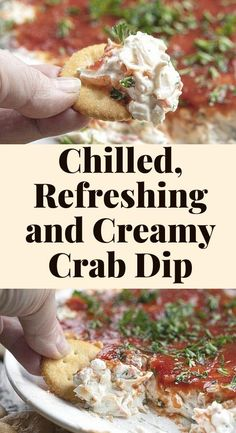 Crab Dip is a chilled, refreshing, creamy dip that is loaded with imitation crab meat and topped with a layer of cocktail sauce. Crab Dip, Dips, Food, Sauces, Essen, Dip, Meals, Yemek, Eten