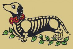 Modern Cross Stitch Kit 'Day of the Dead Dachshund' By Illustrated Ink - Dog Needle Craft Pattern with DMC Materials on Etsy, $80.00 kiana