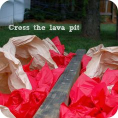 More Super Hero Party Ideas | delight in the little things Cross the lava pit as part of an obstacle course (wooden beam with tissue under it)