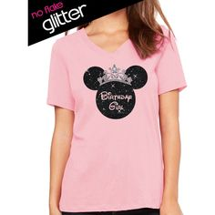 Glitter Disney Birthday Girl Crown Minnie v Neck Disneyland Shirt... (420 MXN) ❤ liked on Polyvore featuring tops, t-shirts, silver, tanks, women's clothing, pink v neck shirt, vneck shirts, flat top, relaxed fit t shirt and t shirts