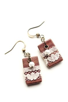 Small Rectangle Wooden Earrings with Lace and Beads, Bloodwood - Christmas inspired!