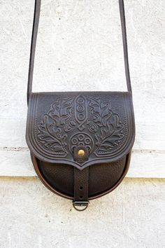 brown chocolate tooled leather bag  shoulder bag  by petitJuJu