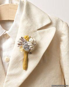 Fabric blossom boutonniere.