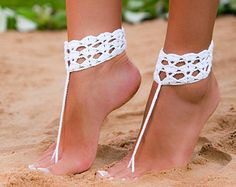Crochet barefoot sandal-Barefoot sandals-Buttoned barefoot sandals-Beach wedding shoes-Bridal barefoot sandals-Bikini-Anklet-Foot thong  #redparrottravelandhoneymoons #redparrotdestinationweddings