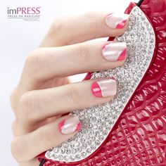 """imPRESS Press-on Manicure in """"So So Stellar"""" makes the perfect canvas for Nail Artists. We used @Kiss Products Nail Artist Paint & Stencil Kits to create this design."""