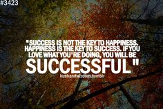 Success is not the key to happiness.  Happiness is not the key to success.  If you love what you are doing, you will be successful.