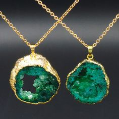 Green Crystal Geode Pendant Necklace Gold Plated About 35 45 mm ...