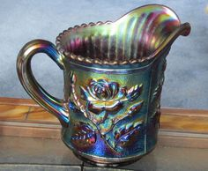 Antique Pitcher Carnival Glass Amethyst Color