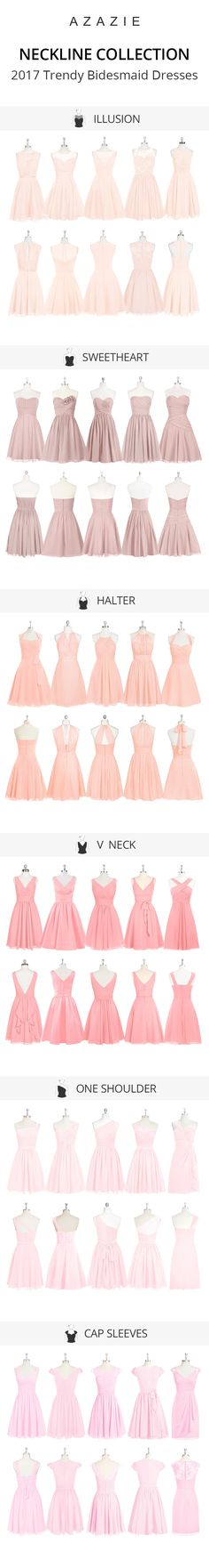 Show off your neckline with these dresses! Wedding tip: Try out our sample program before you purchase to make sure you are completely in love with a dress! Azazie has over 100 styles from delicate lace to bold satins. Shop our affordable bridesmaid dresses today!