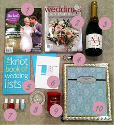 How to create an engagement basket!  magazines, champagne, nail polish, ring holder, jewelry cleaner!