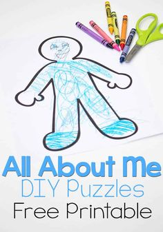 These 'all about me' DIY Puzzles are so cute! Kids can draw themselves and then create a puzzle! All About Me Activities For Toddlers, All About Me Preschool Theme, All About Me Crafts, Activity Books For Toddlers, All About Me Book, Activity Ideas, Preschool Puzzles, Body Preschool, Preschool Learning Activities