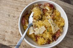 Spaghetti Squash with Bacon, Garlic, and Parmesan by bunsinmyoven #Spaghetti_Squash #Bacon #Parmesan
