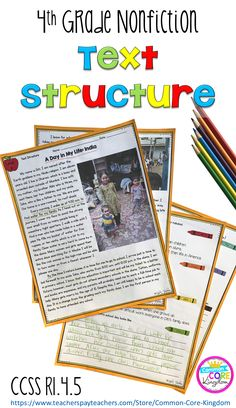 Teach your 4th graders about text structures including chronology, compare & contrast, cause & effect, problem & solution. Passages aligned to Common Core standard RI.4.5.