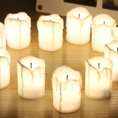 Flameless LED Tea Lights Electric Fake Candles Battery Operated for Wedding Vase Flickering Lights, Battery Lights, Led Tea Lights, Candle Lamp, Home Candles, Tea Light Candles, Electric Tea Lights, Wedding Vases, Party Wedding