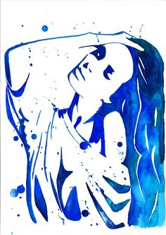 Print from original watercolor fashion illustration painting titled Blue Emotion. $25.00, via Etsy.