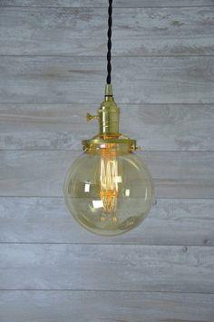 Amber Glass Globe Pendant Light Unfinished Brass by wiresNjars