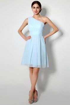 9c5a54a3daa  77 Simple One Shoulder Chiffon Short Bridesmaid Dress – Modcody   oneshoulderdress  skybluedress  chiffondress