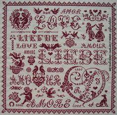 Valentine Sampler - Marquoir rouge au point de croix de Clorami Designs. www.clorami-designs.be