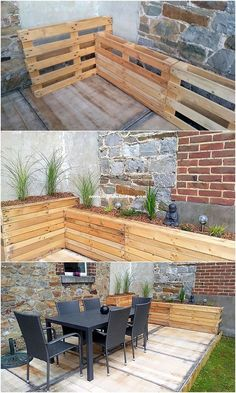 Clever DIY Pallet Ideas and Pallet Furniture Designs You can even perfectly make the use of designing a simple planter and garden deck for your house garden corner. In order to design a simple looking planter, you can even do it by arranging some old wood Pallet Ideas, Diy Pallet Projects, Wood Projects, Wood Ideas, Garden Projects, Garden Ideas, Garden Furniture, Diy Furniture, Outdoor Furniture Sets