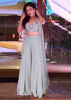 Cocktail party outfit - Soft Lavender A Line Suit With Ruffle Neckline And Flower Matched With Pants Online – Cocktail party outfit Diwali Outfits, Diwali Dresses, Mehendi Outfits, Lehenga Designs, Kurti Designs Party Wear, Cocktail Party Outfit, Designer Party Wear Dresses, Indian Designer Outfits, Indian Outfits Modern
