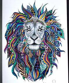 Colorful Lion Head Tattoo Design is part of Tribal lion - Awesome lion with colorful abstract mane Style Abstract Tags Best, Creative, Awesome Lion Head Tattoos, Lion Tattoo Design, Tattoo Designs, Tribal Lion Tattoo, Lion Drawing, Lion Painting, Lion Print, Bild Tattoos, Mandala Design